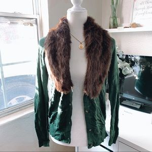 JONES NEW YORK Green Fur Cardigan M